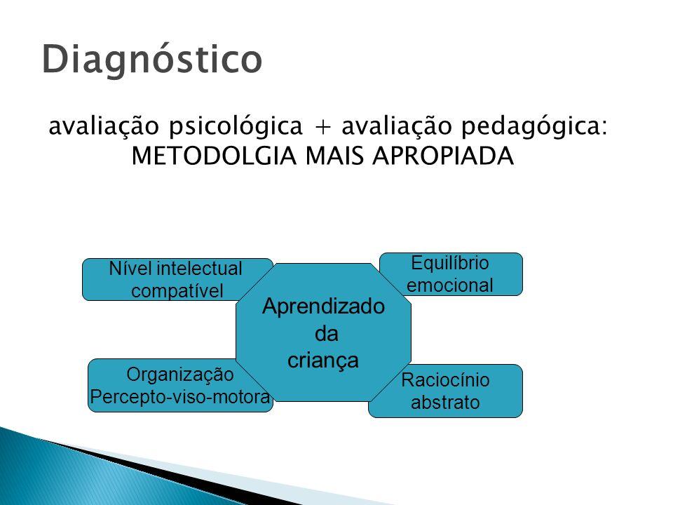 Diagnósticoavaliação psicológica + avaliação pedagógica: METODOLGIA MAIS APROPIADA. Equilíbrio.