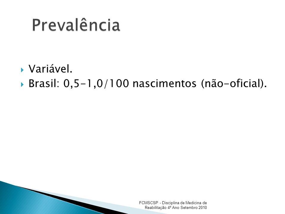 Prevalência Variável. Brasil: 0,5-1,0/100 nascimentos (não-oficial).