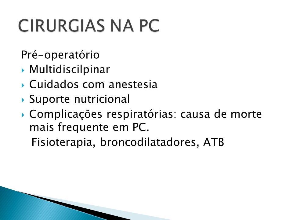 CIRURGIAS NA PC Pré-operatório Multidiscilpinar Cuidados com anestesia