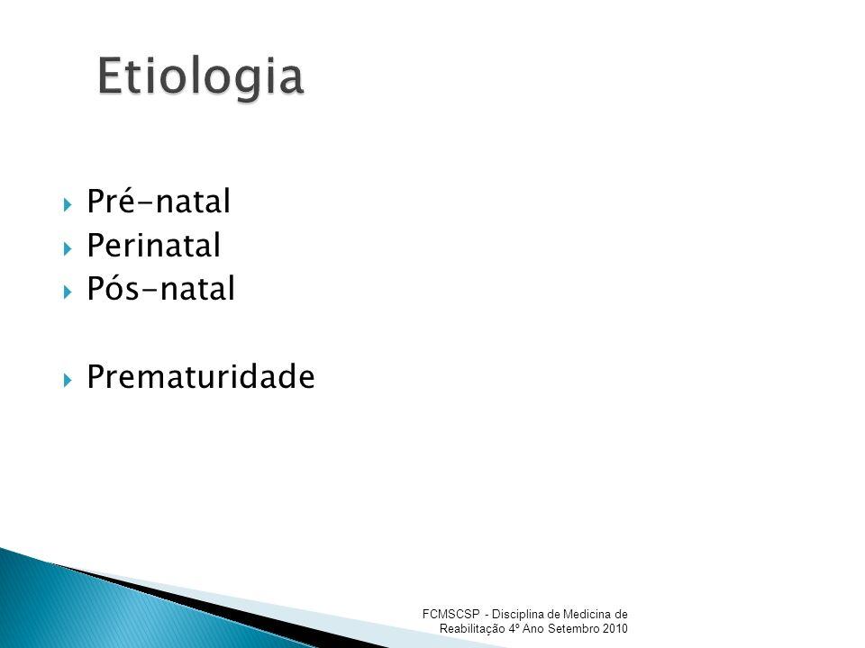 Etiologia Pré-natal Perinatal Pós-natal Prematuridade
