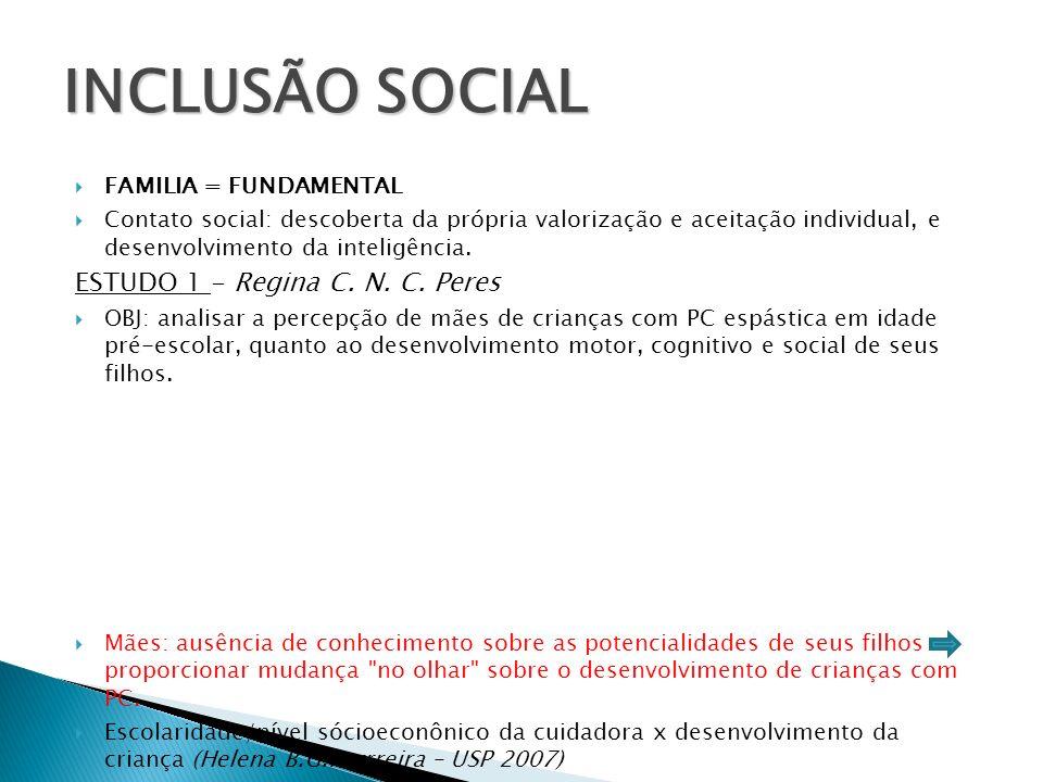 INCLUSÃO SOCIAL ESTUDO 1 - Regina C. N. C. Peres FAMILIA = FUNDAMENTAL