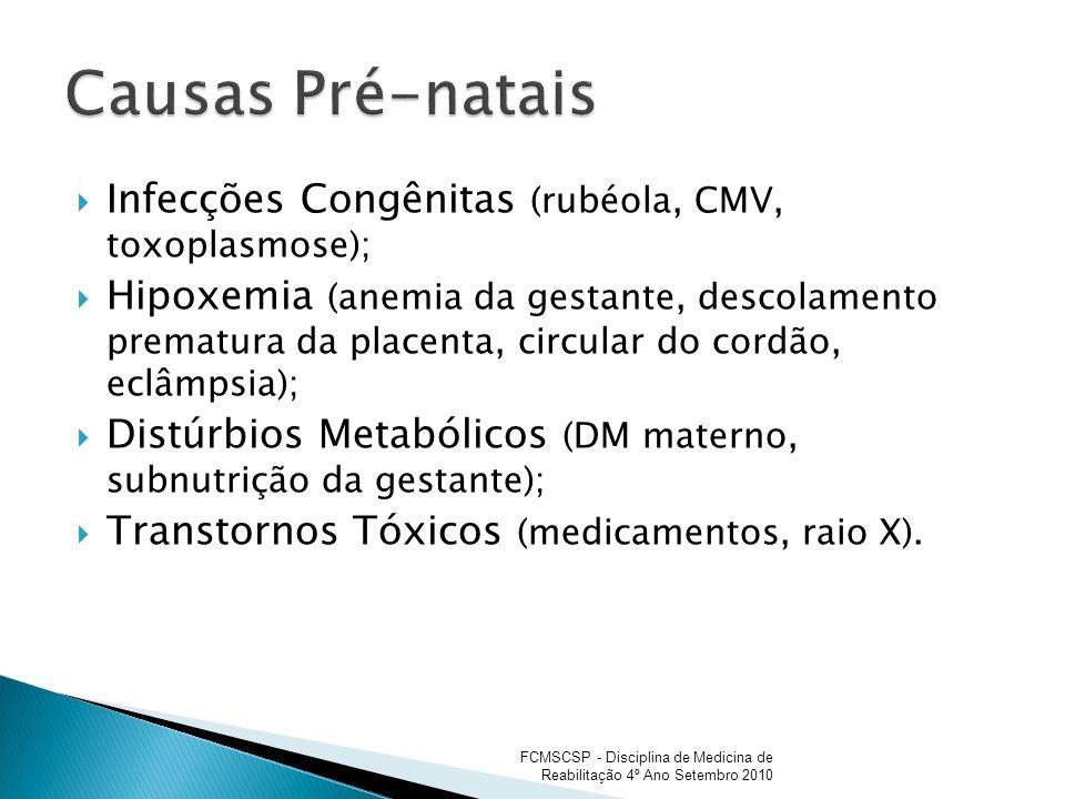 Causas Pré-natais Infecções Congênitas (rubéola, CMV, toxoplasmose);