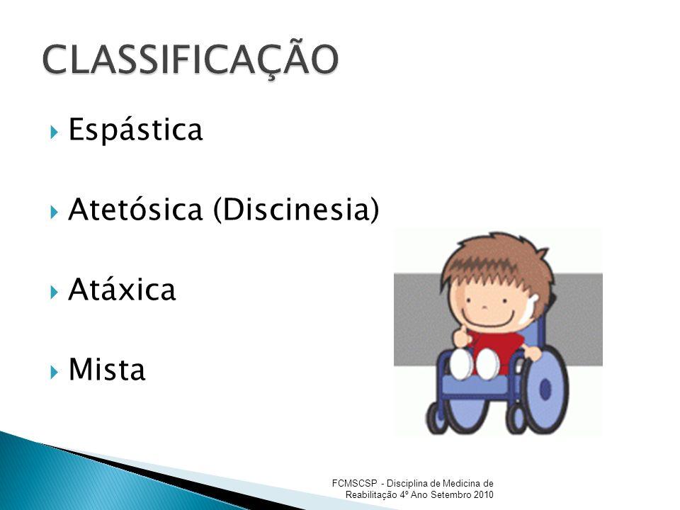 CLASSIFICAÇÃO Espástica Atetósica (Discinesia) Atáxica Mista