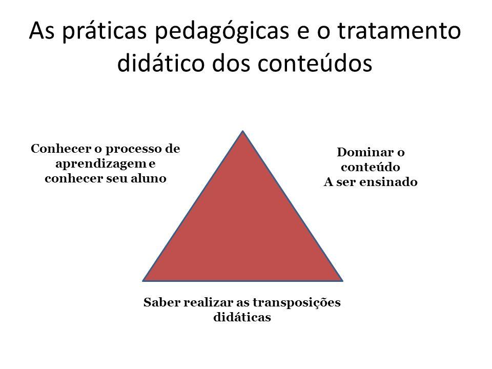 As práticas pedagógicas e o tratamento didático dos conteúdos