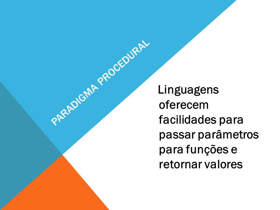 Paradigma procedural Linguagens oferecem facilidades para passar parâmetros para funções e retornar valores.