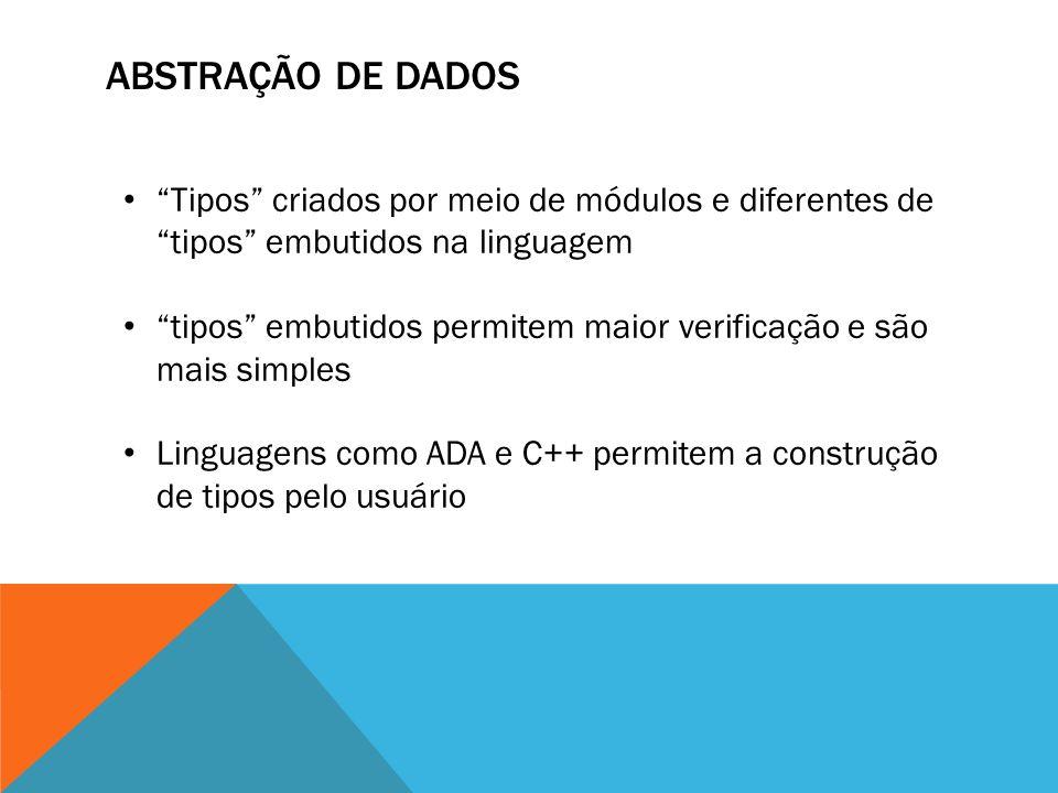 ABSTRAÇÃO DE DADOS Tipos criados por meio de módulos e diferentes de tipos embutidos na linguagem.