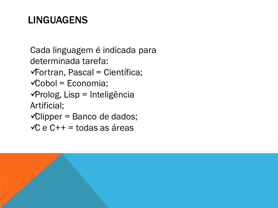 linguagens Cada linguagem é indicada para determinada tarefa: