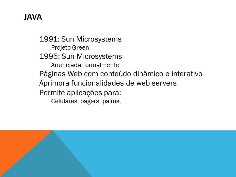 java 1991: Sun Microsystems 1995: Sun Microsystems