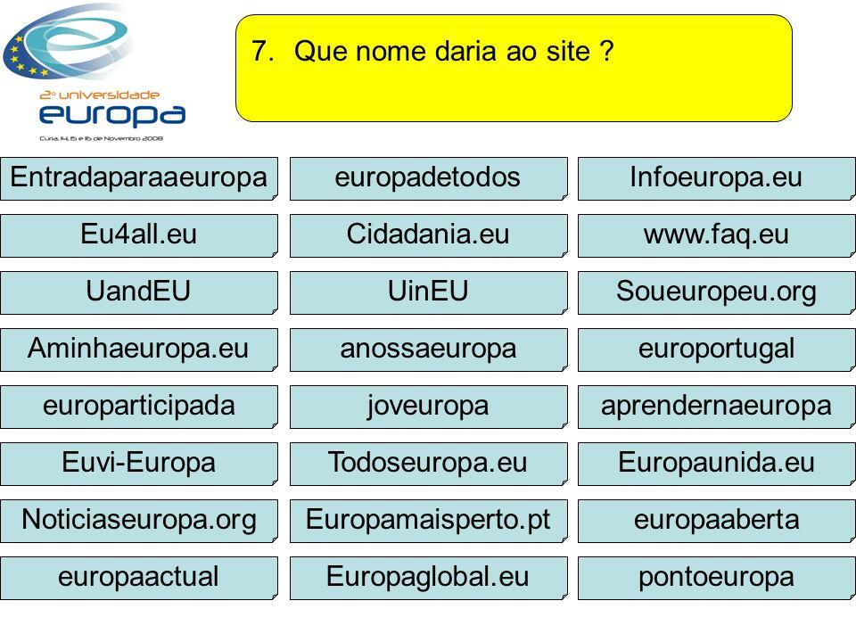 Que nome daria ao site Entradaparaaeuropa. europadetodos. Infoeuropa.eu. Eu4all.eu. Cidadania.eu.