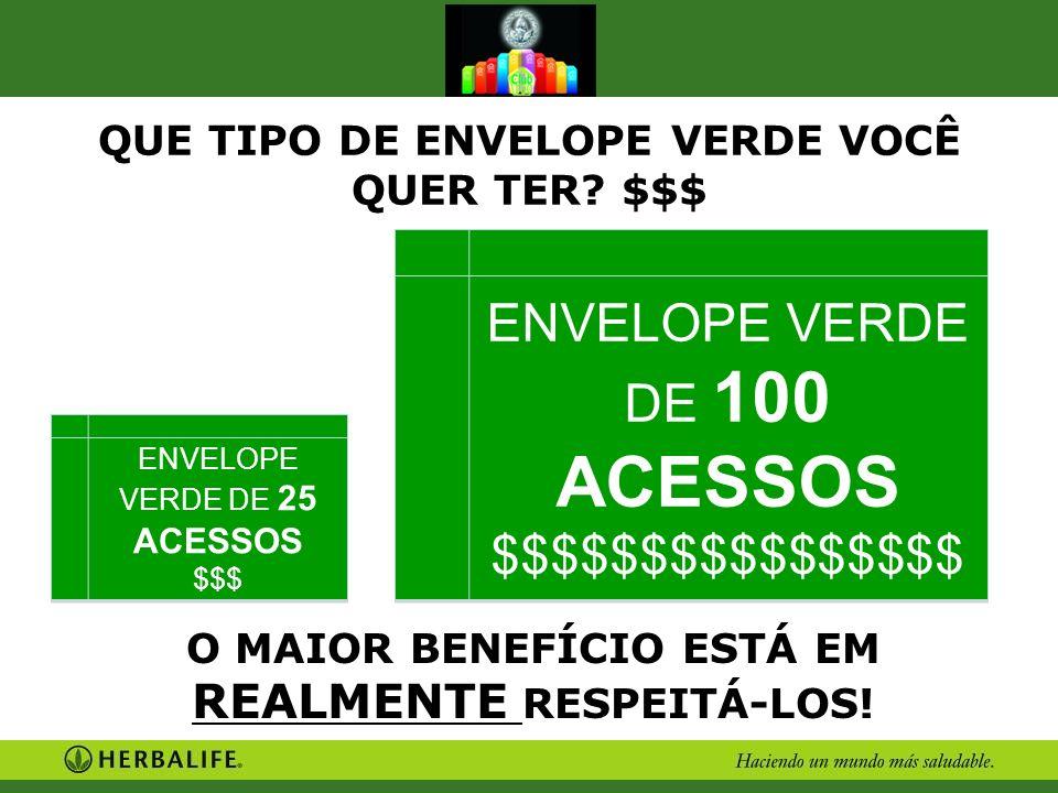 ENVELOPE VERDE DE 100 ACESSOS $$$$$$$$$$$$$$$$