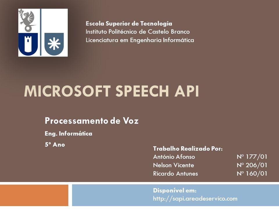 Processamento de Voz Eng. Informática 5º Ano