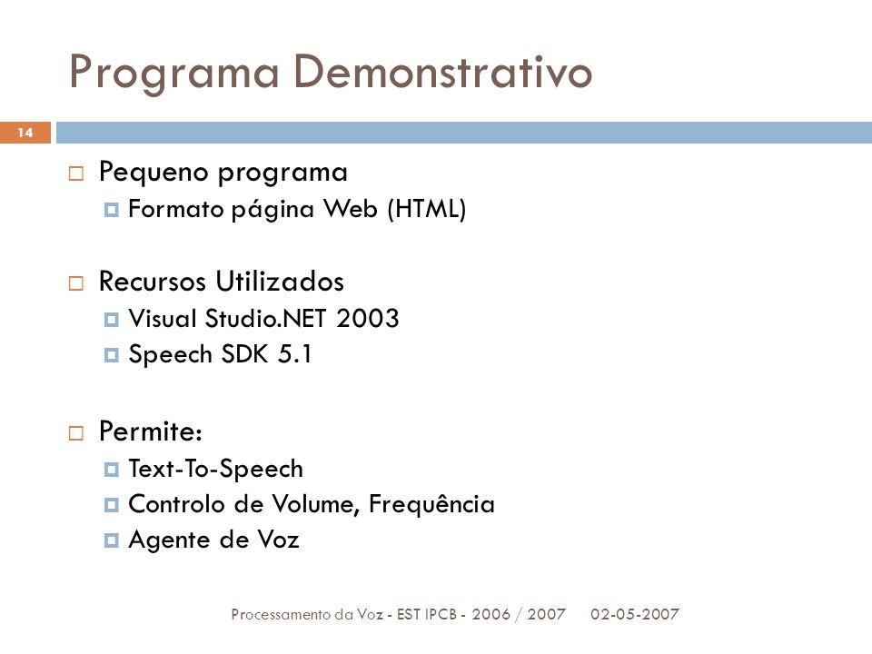 Programa Demonstrativo