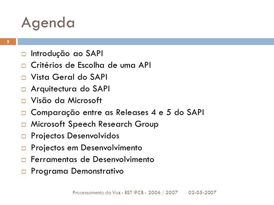 Agenda Introdução ao SAPI Critérios de Escolha de uma API