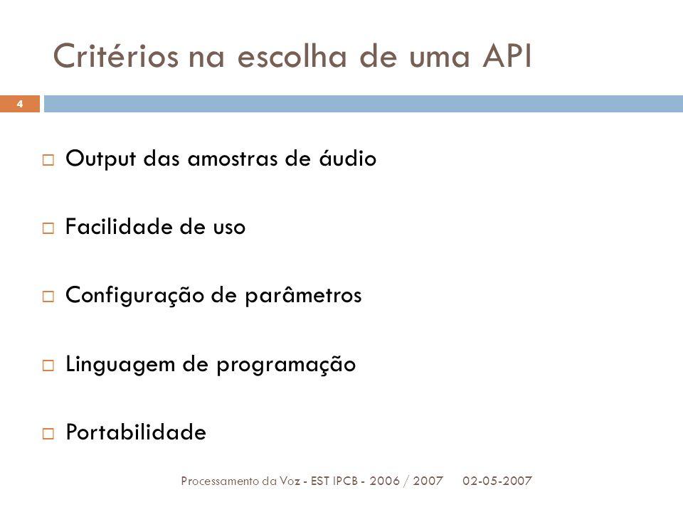 Critérios na escolha de uma API