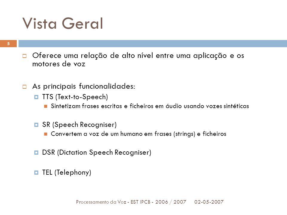 Vista Geral Oferece uma relação de alto nível entre uma aplicação e os motores de voz. As principais funcionalidades: