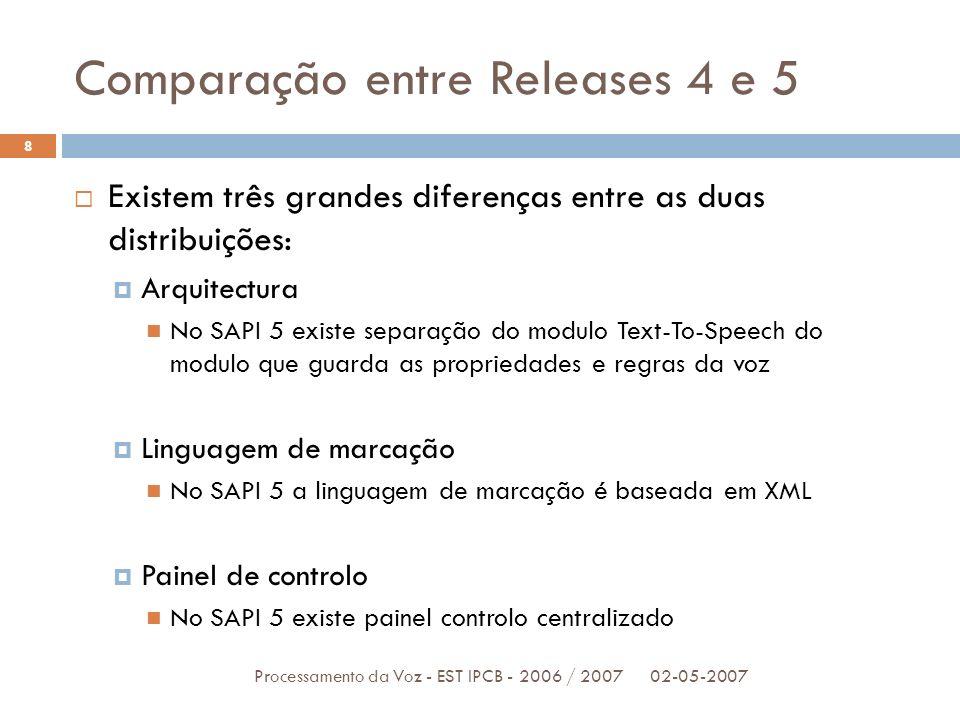 Comparação entre Releases 4 e 5
