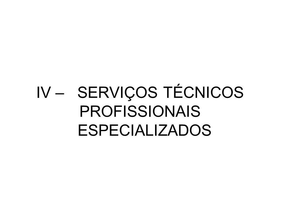 IV – SERVIÇOS TÉCNICOS PROFISSIONAIS ESPECIALIZADOS