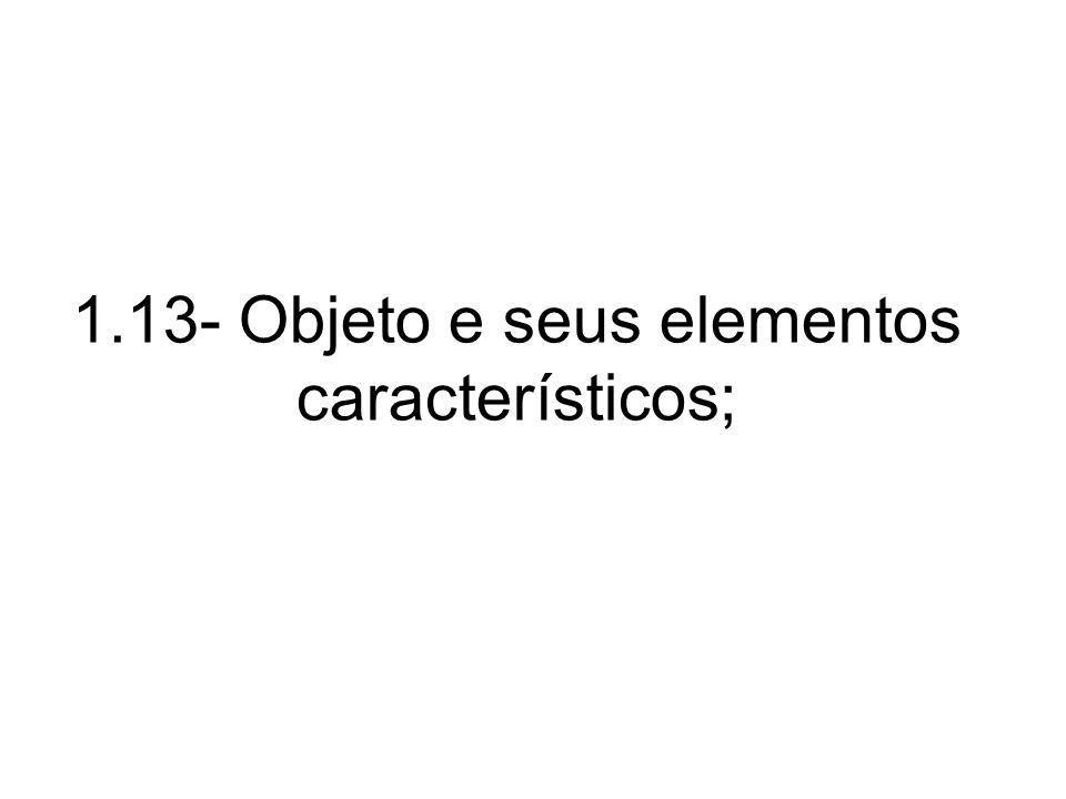 1.13- Objeto e seus elementos característicos;