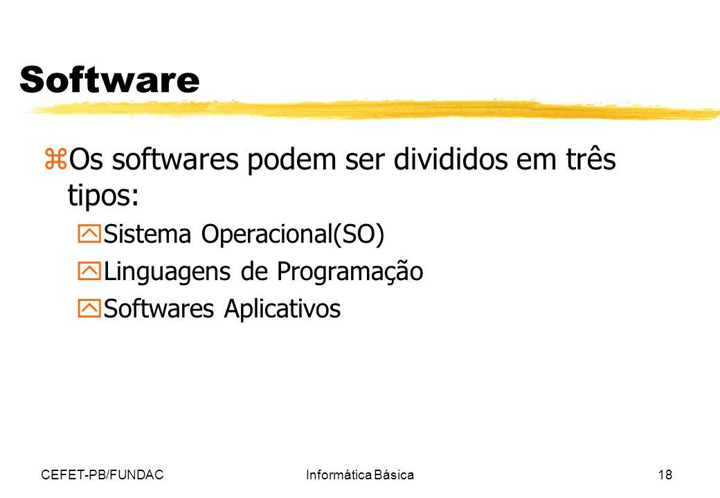 Software Os softwares podem ser divididos em três tipos: