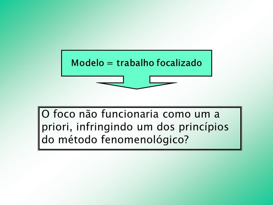 Modelo = trabalho focalizado