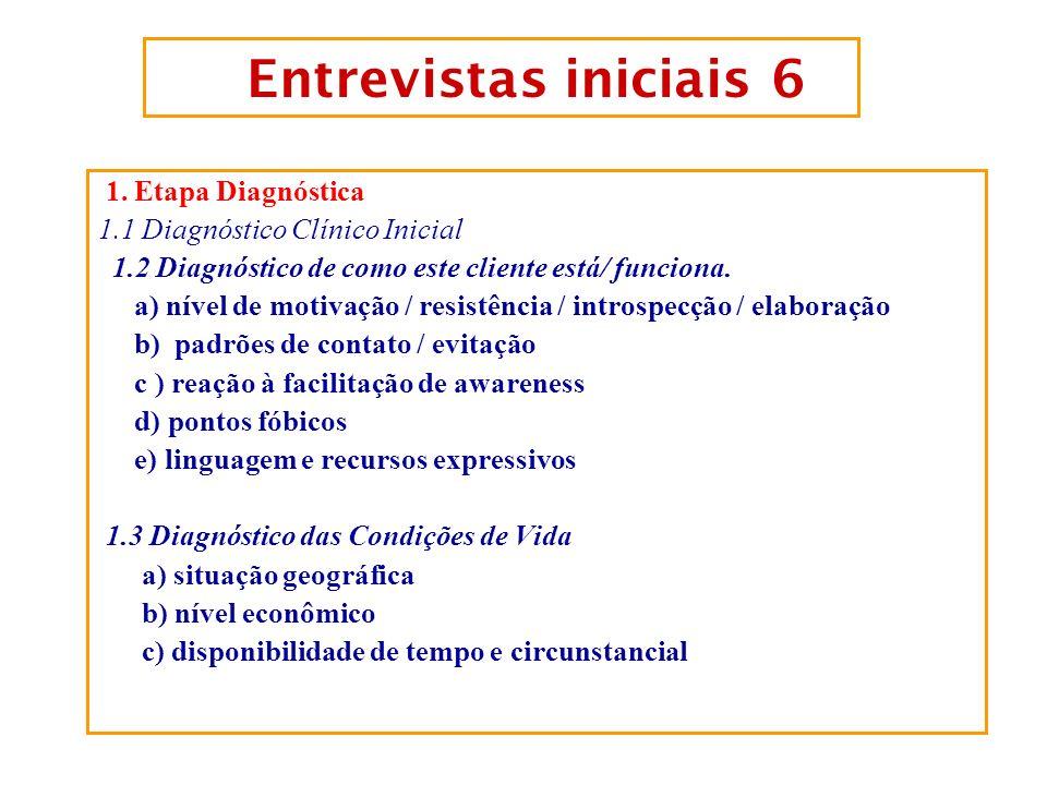 Entrevistas iniciais 6 1. Etapa Diagnóstica
