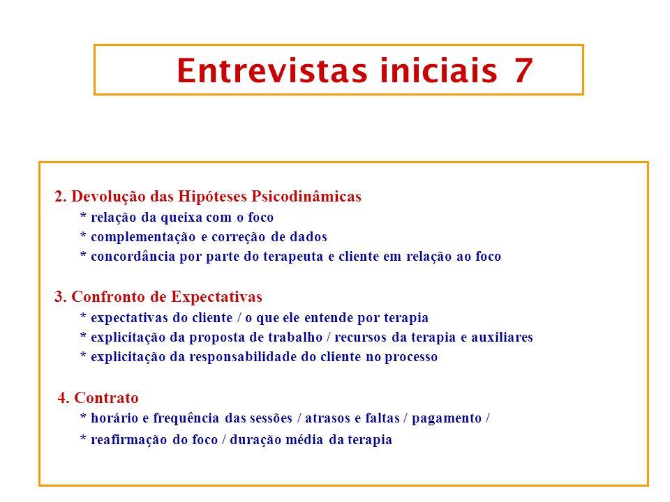 Entrevistas iniciais 7 2. Devolução das Hipóteses Psicodinâmicas