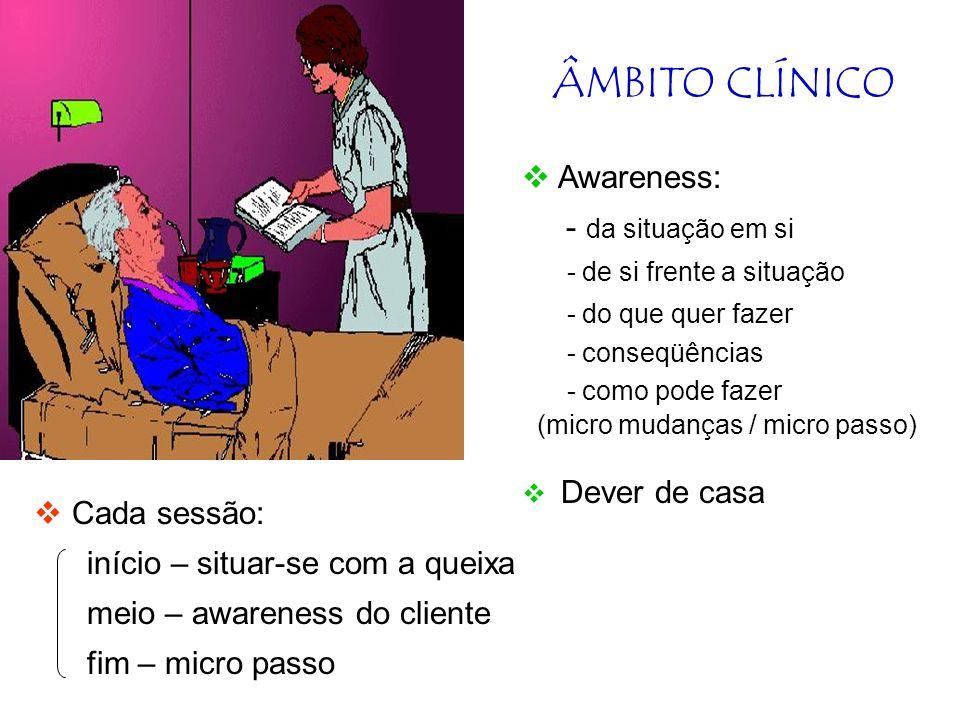 ÂMBITO CLÍNICO Awareness: - da situação em si Cada sessão: