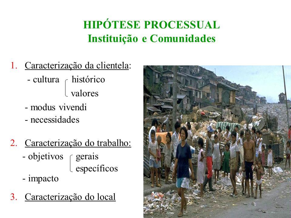 HIPÓTESE PROCESSUAL Instituição e Comunidades