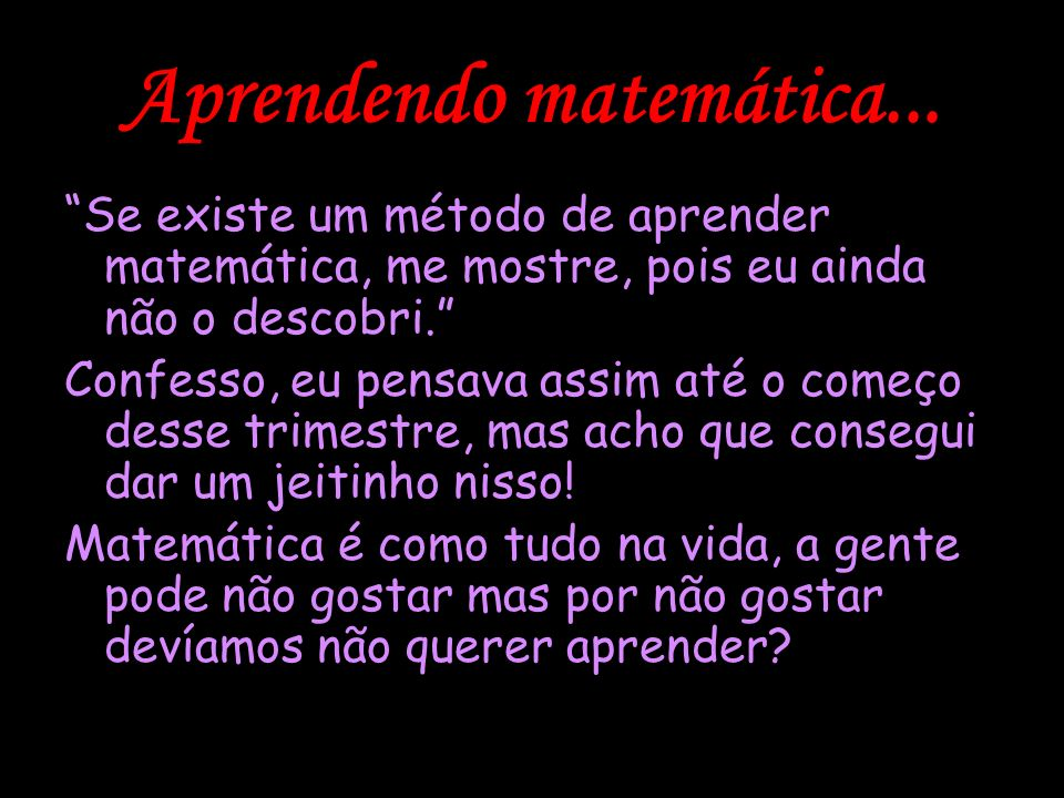 Aprendendo matemática...