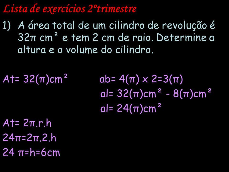 Lista de exercícios 2ºtrimestre