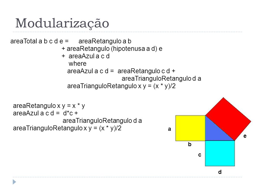 Modularização areaTotal a b c d e = areaRetangulo a b