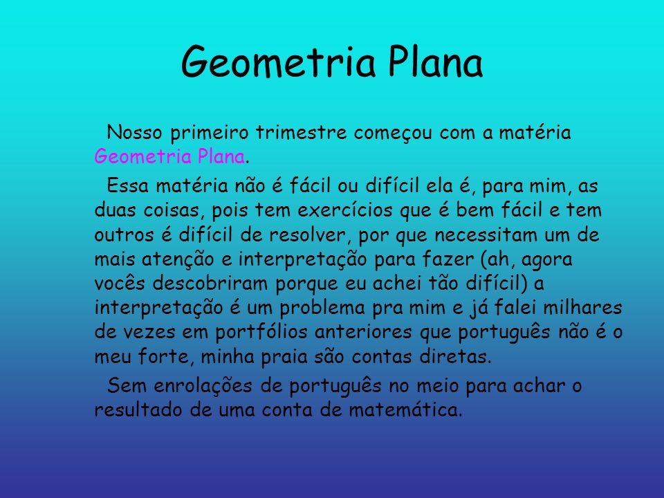 Geometria Plana Nosso primeiro trimestre começou com a matéria Geometria Plana.
