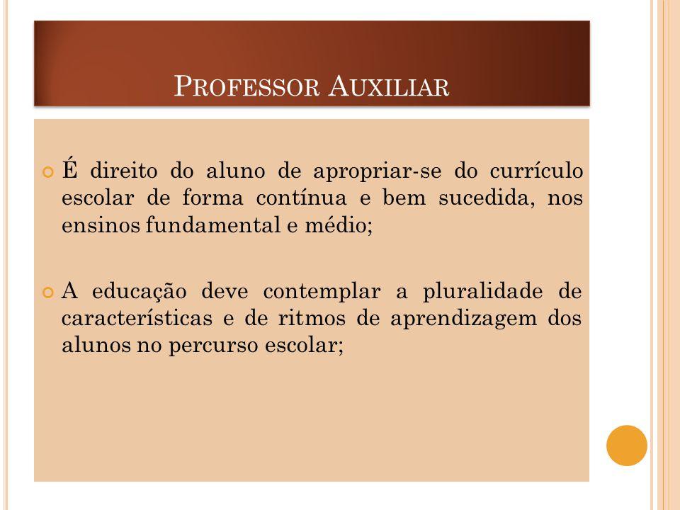 Professor Auxiliar É direito do aluno de apropriar-se do currículo escolar de forma contínua e bem sucedida, nos ensinos fundamental e médio;