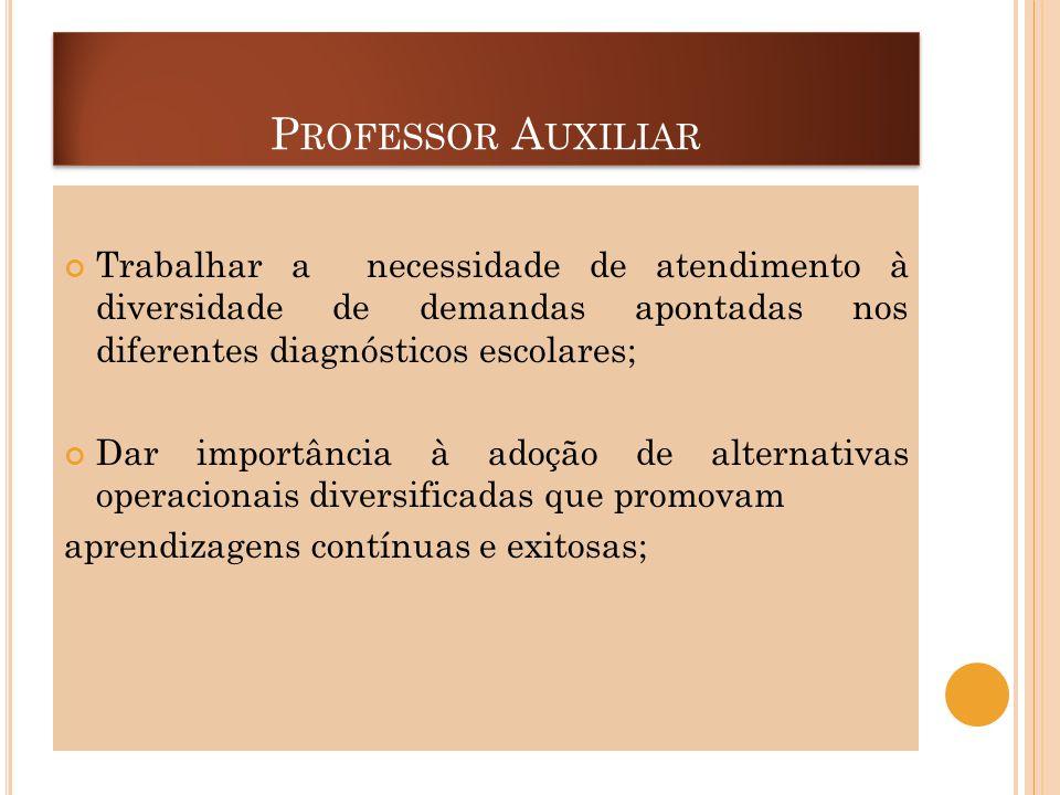 Professor Auxiliar Trabalhar a necessidade de atendimento à diversidade de demandas apontadas nos diferentes diagnósticos escolares;