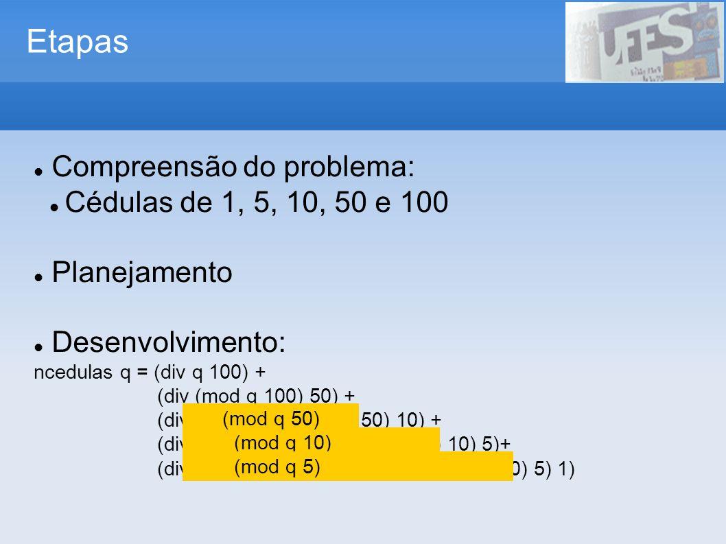 Etapas Compreensão do problema: Cédulas de 1, 5, 10, 50 e 100