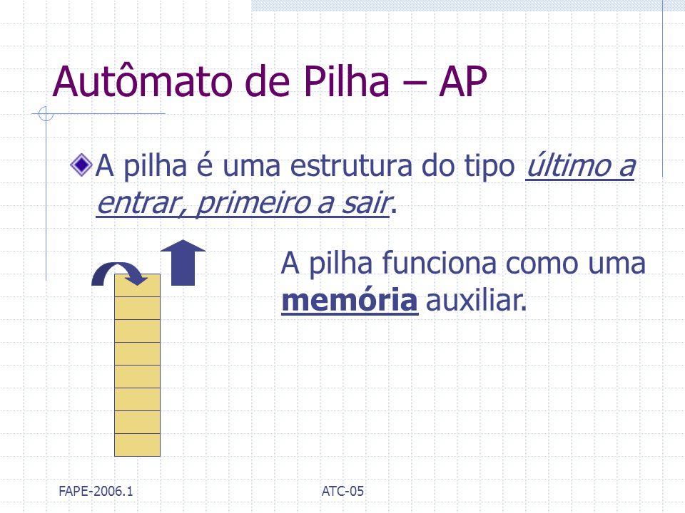 Autômato de Pilha – AP A pilha é uma estrutura do tipo último a entrar, primeiro a sair. A pilha funciona como uma.