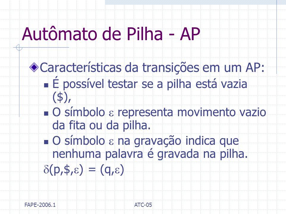Autômato de Pilha - AP Características da transições em um AP: