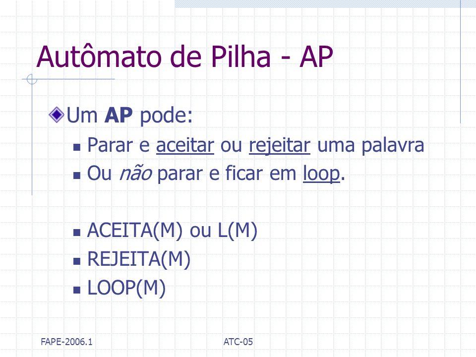 Autômato de Pilha - AP Um AP pode: