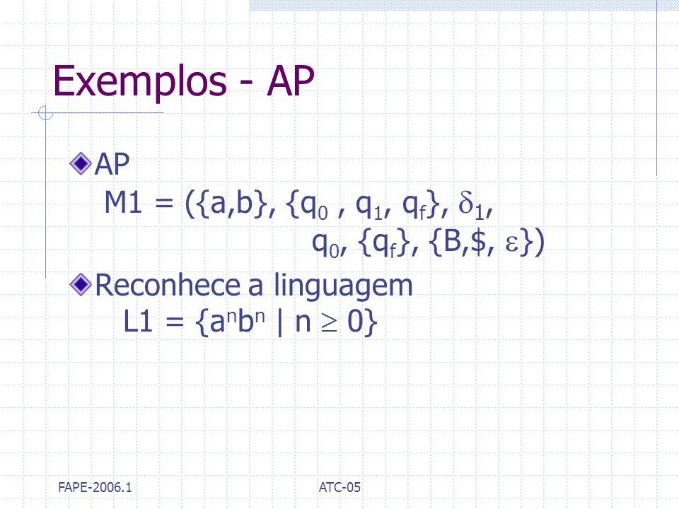 Exemplos - AP AP M1 = ({a,b}, {q0 , q1, qf}, 1, q0, {qf}, {B,$, })