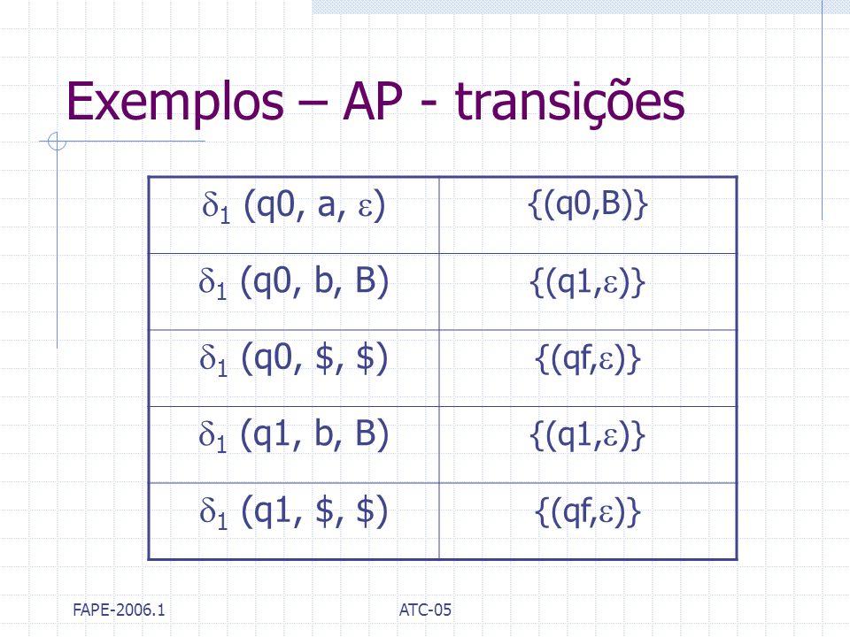 Exemplos – AP - transições