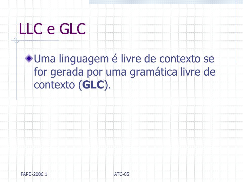 LLC e GLC Uma linguagem é livre de contexto se for gerada por uma gramática livre de contexto (GLC).