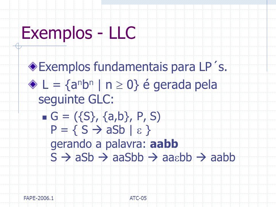 Exemplos - LLC Exemplos fundamentais para LP´s.
