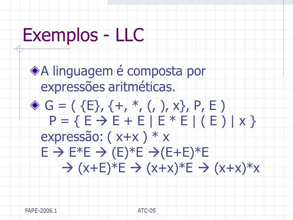 Exemplos - LLC A linguagem é composta por expressões aritméticas.