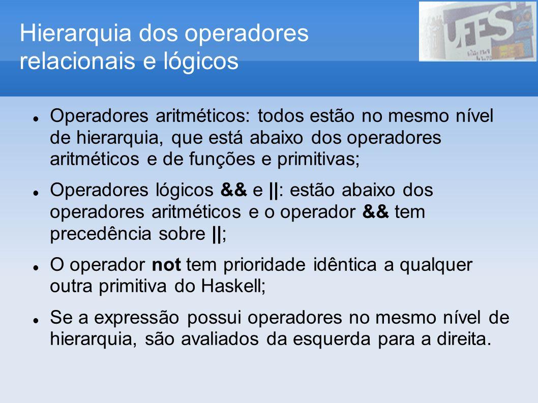 Hierarquia dos operadores relacionais e lógicos