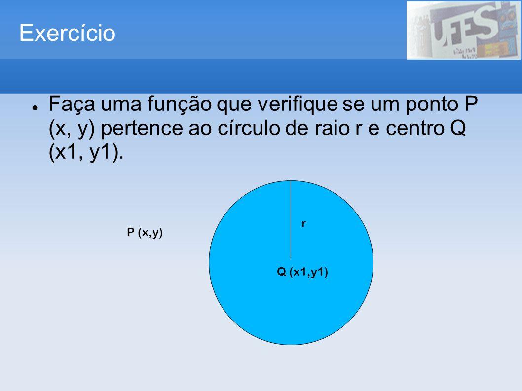 Exercício Faça uma função que verifique se um ponto P (x, y) pertence ao círculo de raio r e centro Q (x1, y1).
