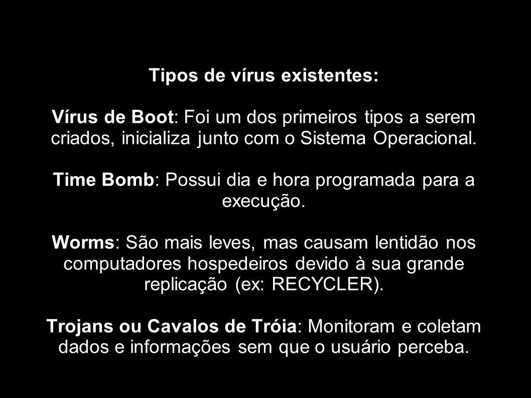 Tipos de vírus existentes:
