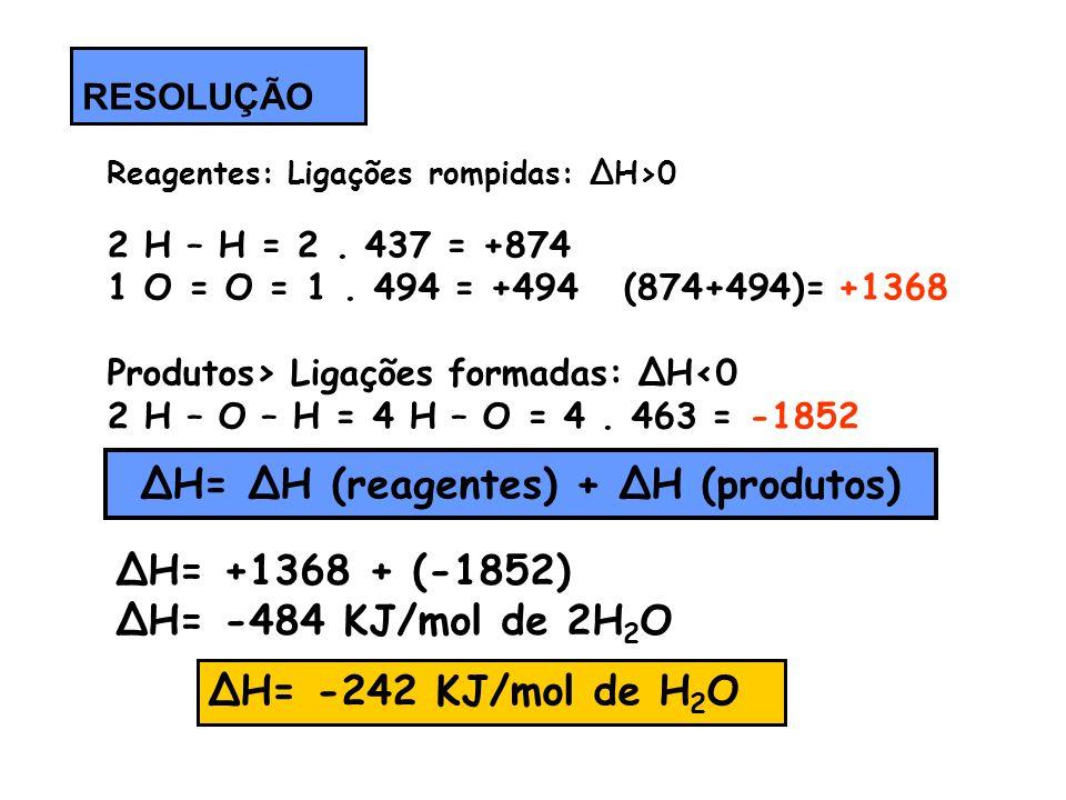 ΔH= ΔH (reagentes) + ΔH (produtos)