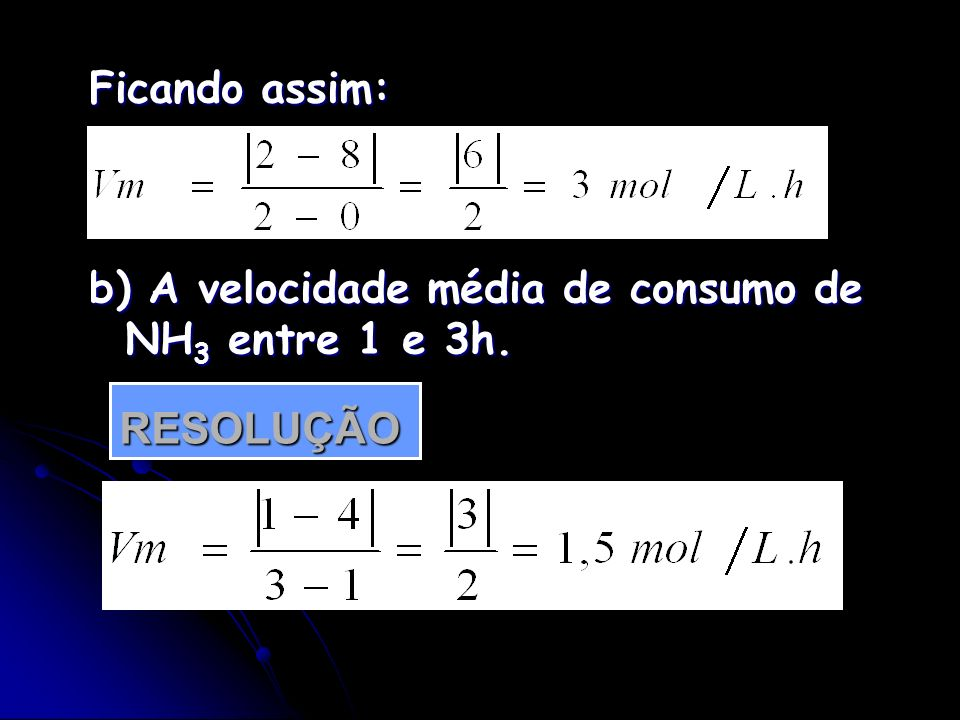 b) A velocidade média de consumo de NH3 entre 1 e 3h.