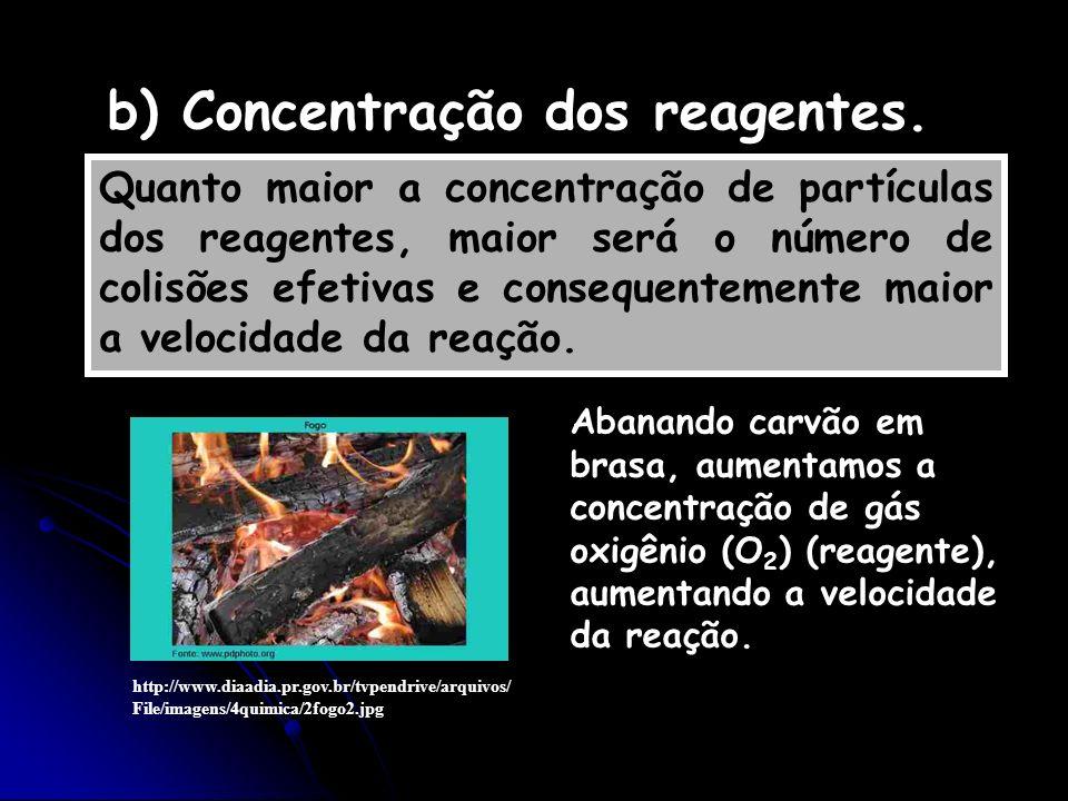 b) Concentração dos reagentes.