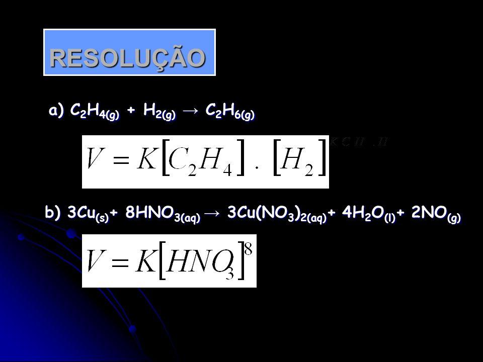 RESOLUÇÃO a) C2H4(g) + H2(g) → C2H6(g)
